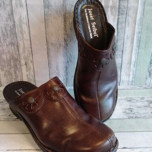 Josef Seibel brown leather mules size 9